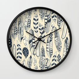 joyful feathers cream Wall Clock