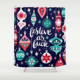 Festive As Fuck – Navy Palette Shower Curtain