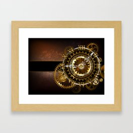 Steampunk Clock with Gears Framed Art Print