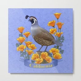 California State Bird Quail and Golden Poppy Metal Print