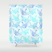 origami Shower Curtains featuring Origami by StudioBlueRoom