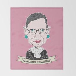 Ruth Bader Ginsburg The Notorious RBG Flaming Feminist Throw Blanket