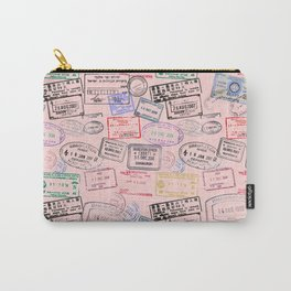 Worldly Traveler - Passport Pattern - Rose Pink Carry-All Pouch