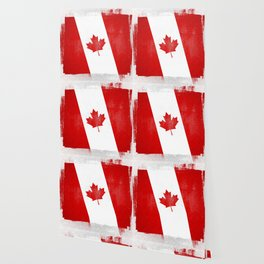 Canada Distressed Halftone Denim Flag Wallpaper