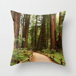 Walking Through The Muir Woods Throw Pillow