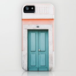 Turquoise Door with Peach Coloured Wall in Lisbon, Portugal | Travel Photography | iPhone Case