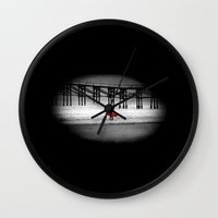 surfboard Wall Clocks featuring Red Surfboard by Derek Fleener