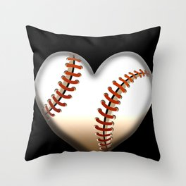 Vintage Baseball Heart Valentine's Day design for Players Throw Pillow