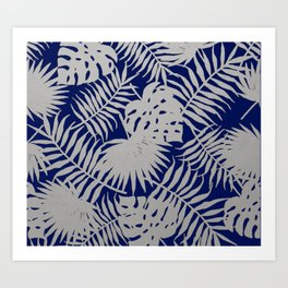 Silver Tropical Leaves over Navy Blue Art Print