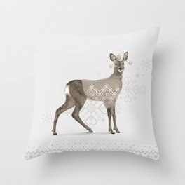 Warmly Clothed Deer Throw Pillow