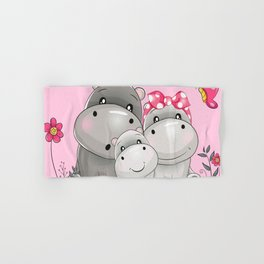 adorable hippos Hand & Bath Towel