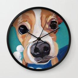 Golf Ball Puppy Wall Clock