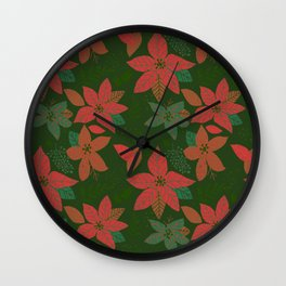Serene Poinsettia Vintage Red On Green  Wall Clock