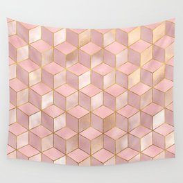 PINK CHAMPAGNE GRADIENT CUBE PATTERN (Gold Lined) Wall Tapestry