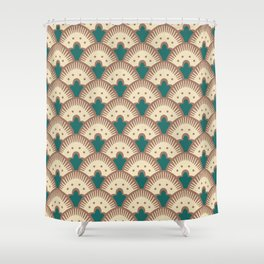 Fan Pattern Brown and Green 991 Shower Curtain