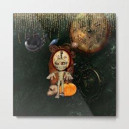 Funny mummy with pumpkin Metal Print