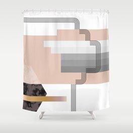 Peach Stripe Deco Hexagon Shower Curtain