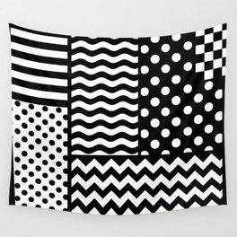 Mixed Patterns (Horizontal Stripes/Polka Dots/Wavy Stripes/Chevron/Checker) Wall Tapestry