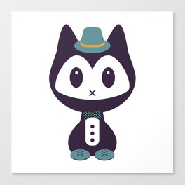 Cute kitten in formal clothes Canvas Print