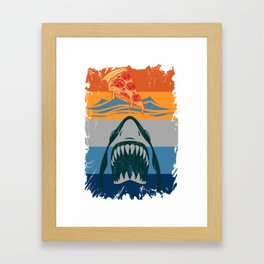 Pizza With Shark Retro Gift For Pizza Lover Framed Art Print