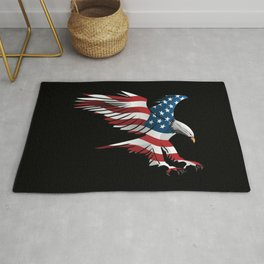 Patriotic Flying American Flag Eagle Rug