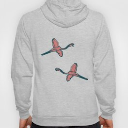Pink Flamingo watercolor pattern beige Hoody