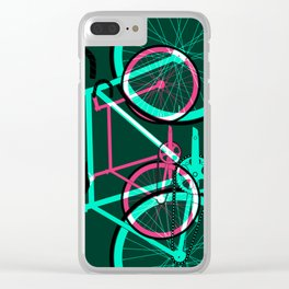 Fixed Gear Road Bikes – Green and Pink Clear iPhone Case