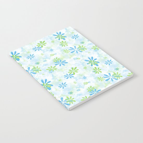Blue and Green Floral Pattern Notebook