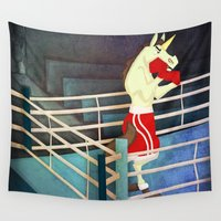 boxer Wall Tapestries featuring Unicorn Boxer by That's So Unicorny