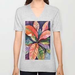 Colorful Tropical Leaves 1 Unisex V-Neck