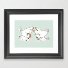 Chicken Fight Framed Art Print