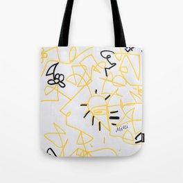 Squiggle Design Yellow Tote Bag