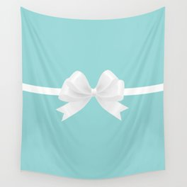 Turquoise & White Bow Wall Tapestry