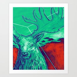 Stag Dimension of Teal Art Print