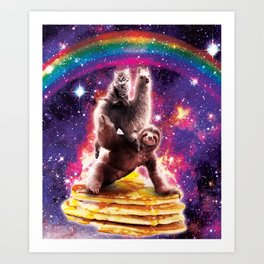 Space Cat Llama Sloth Riding Pancakes Art Print