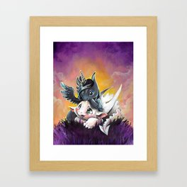 Sunset friends, Unicorn and Dragon Framed Art Print