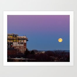 March Moonset in Portland, Maine (1) Art Print