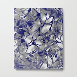 Grunge Art Silver Floral Abstract G169 Metal Print