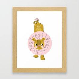 Pink Lion Framed Art Print