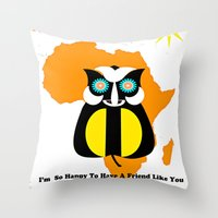 friendship Throw Pillows featuring Friendship by Saundra Myles