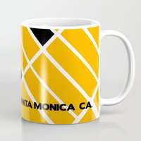 santa monica Mugs featuring Santa Monica Ca. by Studio Tesouro