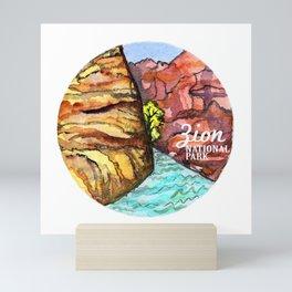 Zion National Park Watercolor Mini Art Print