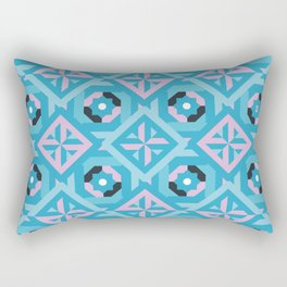 Nuts and Bolts Modern Spanish tile pattern // blue and pink Rectangular Pillow