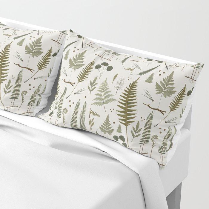 fern pattern white Pillow Sham