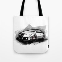 honda Tote Bags featuring Honda Civic Type-R by an.artwrok