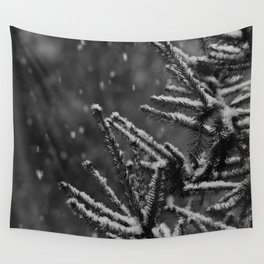 The Evergreen with Snow (Black and White) Wall Tapestry