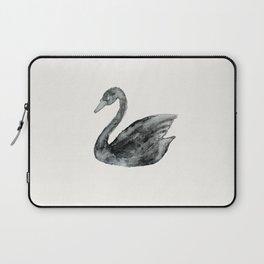 Elegant black white hand painted watercolor swan  Laptop Sleeve