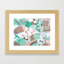 Laundry Day 2 _ Pink /Purple/Green/Sea Foam Framed Art Print