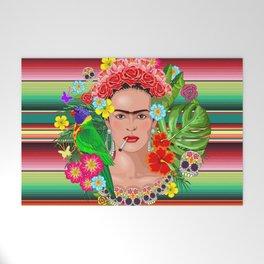 Frida Kahlo Floral Exotic Portrait Welcome Mat
