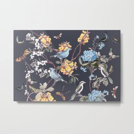 BIRDS, BLOSSOMS & BUTTERFLIES Metal Print